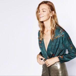 Zara Dark Green Floral Print Plunge Neck Bodysuit